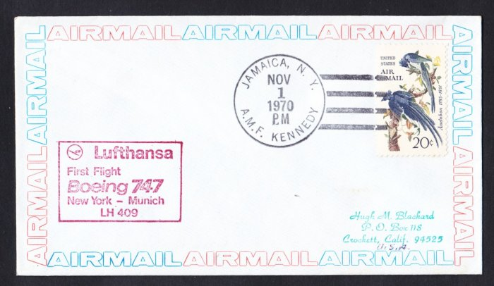 LUFTHANSA Boeing 747 NY to Munich Germany First Flight Cover