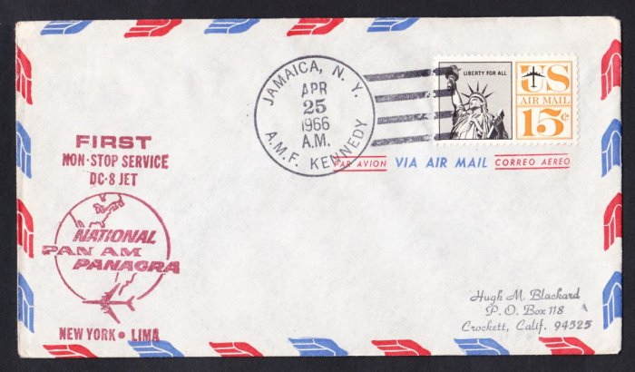 PAN AM PANAGRA DC-8 NY to Lima Peru First Flight Cover
