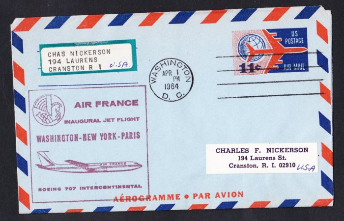 AIR FRANCE Boeing 707 Washington DC to Paris France First Flight Cover