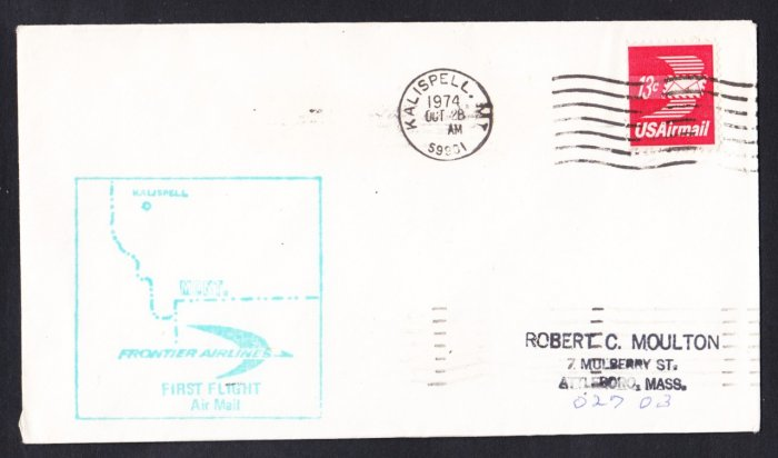 FRONTIER AIRLINES Kalispell MT First Flight Cover
