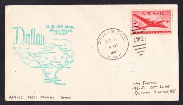 AM82 Dallas TX to San Angelo TX 1947 First Flight Cover