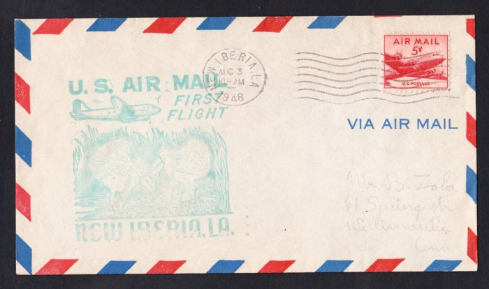 New Iberia LA to New Orleans LA 1948 First Flight Cover