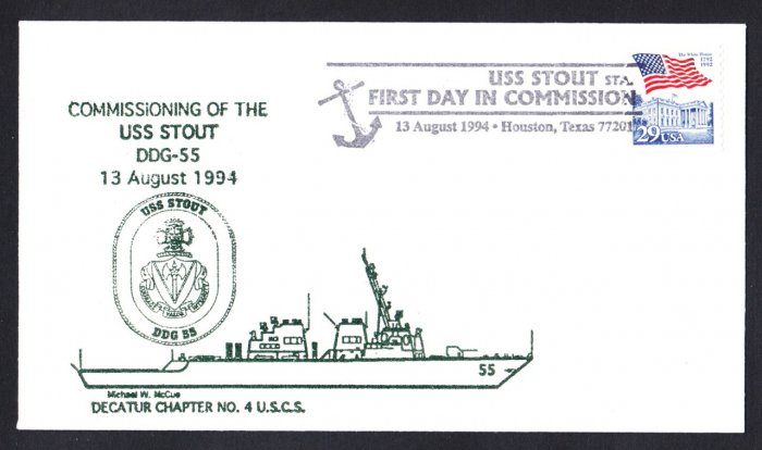 USS STOUT DDG-55 Commissioning Naval Cover