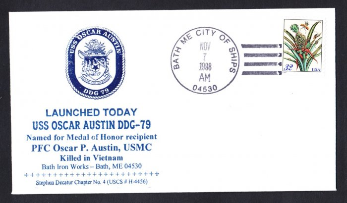 USS OSCAR AUSTIN DDG-79 Launching Naval Cover