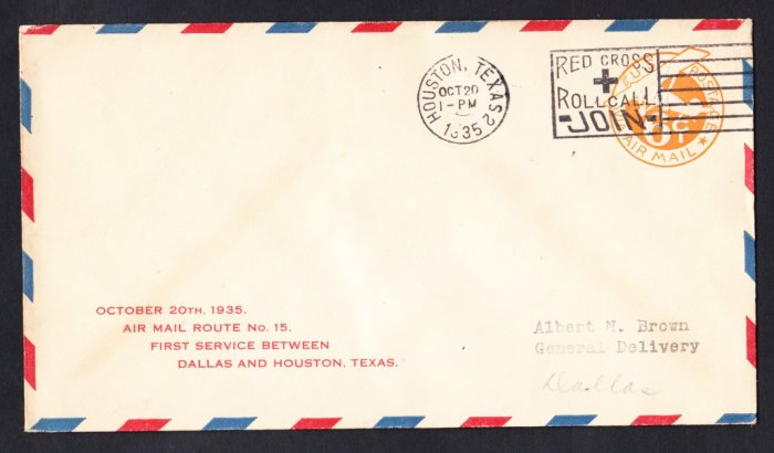 AM15 Houston TX to Dallas TX 1935 First Flight Cover