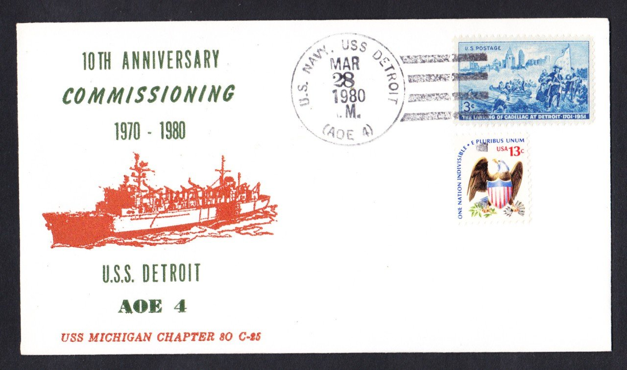 USS DETROIT AOE-4 Commissioning Anniversary Naval Cover