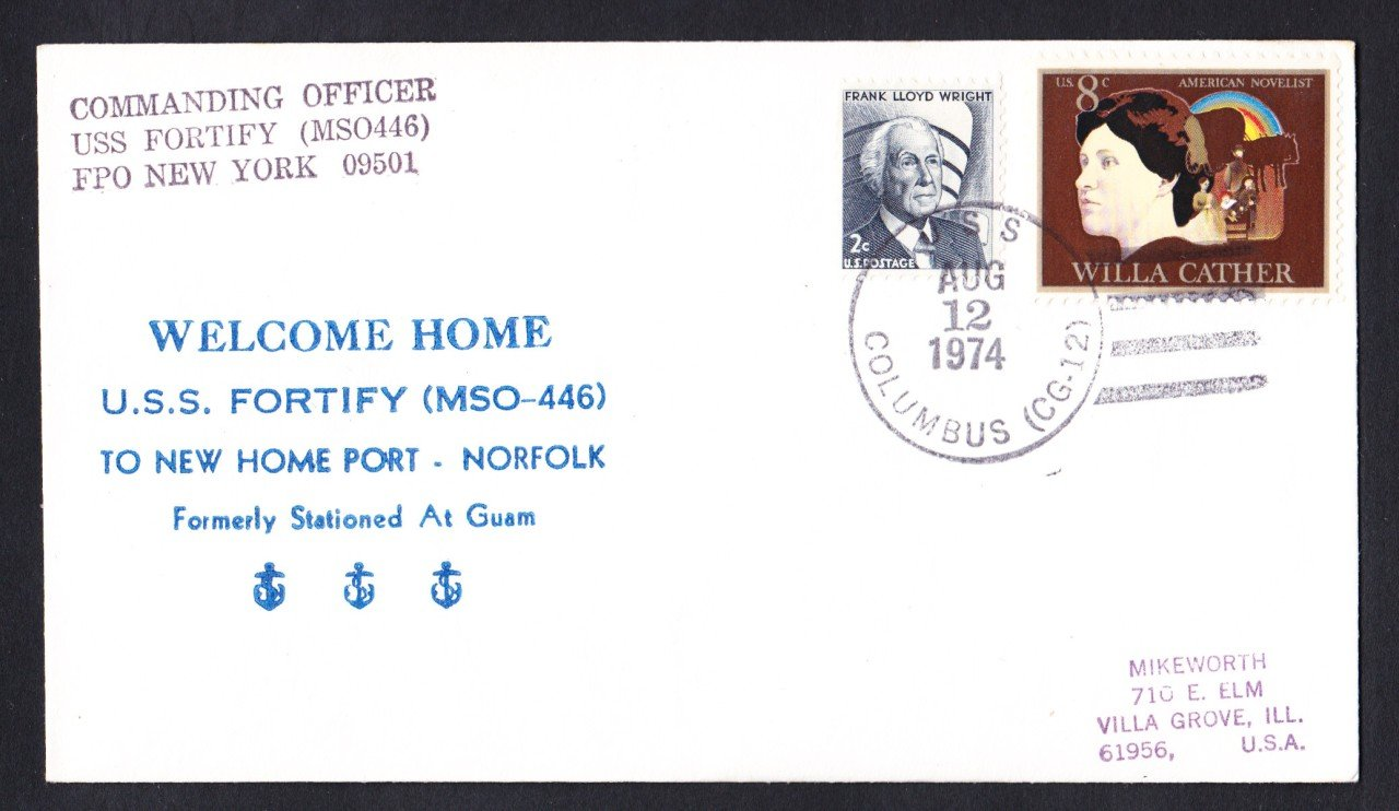 USS FORTIFY MSO-446 Norfolk Virginia Naval Cover