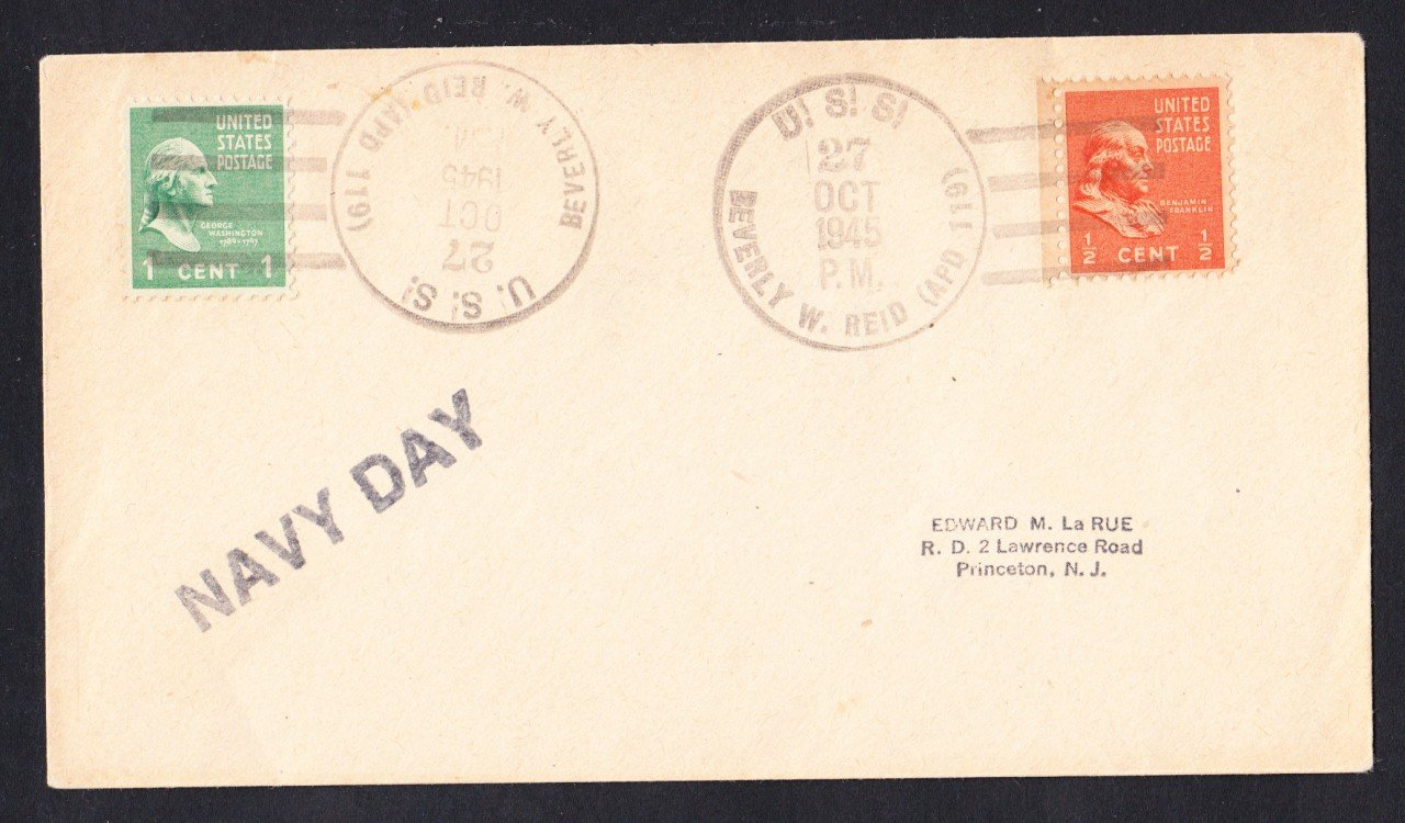 USS BEVERLY R. REID APD-119 Navy Day 1945 Naval Cover