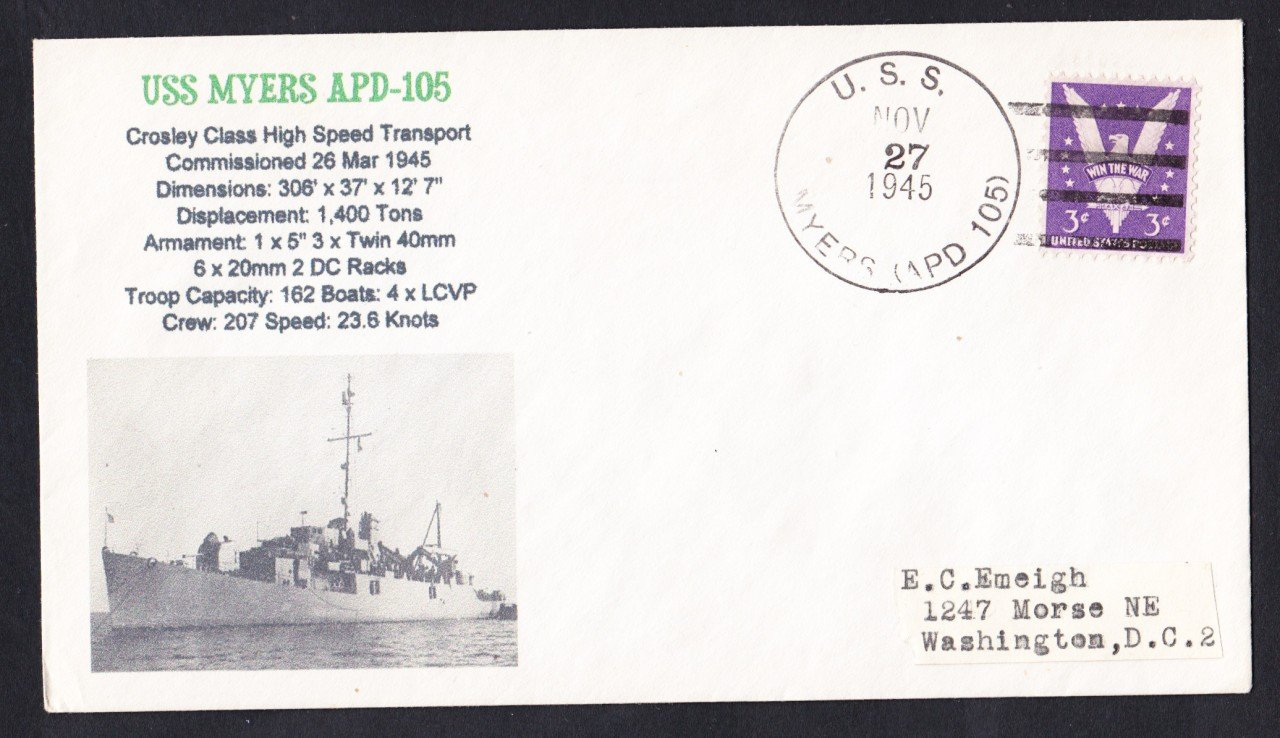 USS MYERS APD-105 1945 Naval Cover MHcachets ONLY 1 MADE