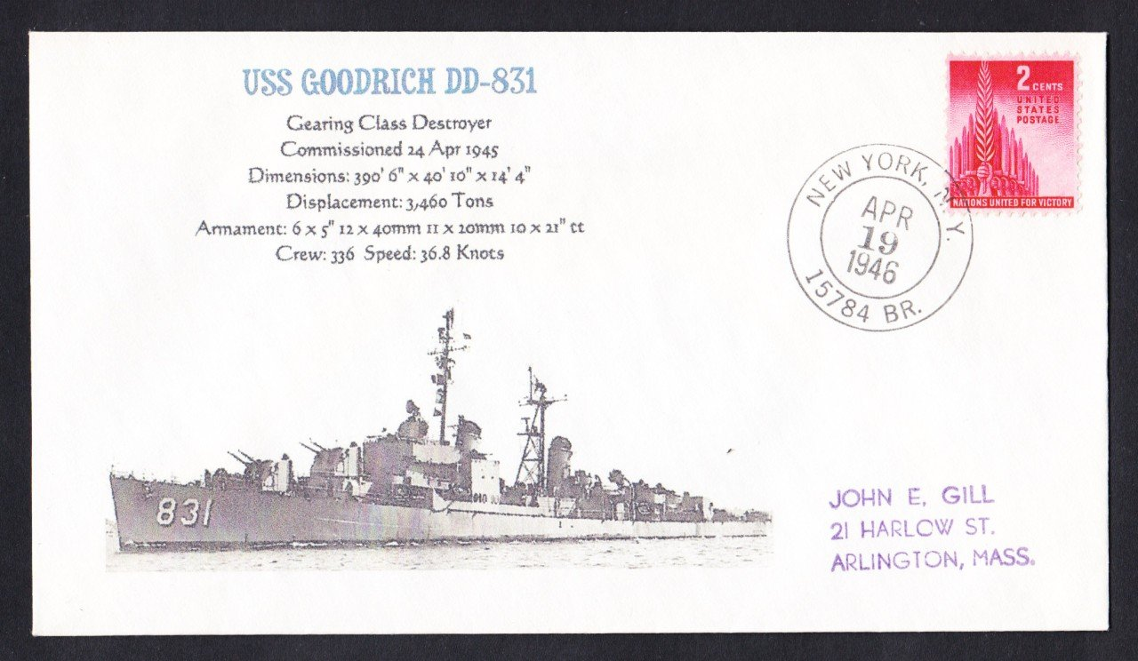 USS GOODRICH DD-831 BR# Cancel 1946 Naval Cover MHcachets ONLY 1 MADE