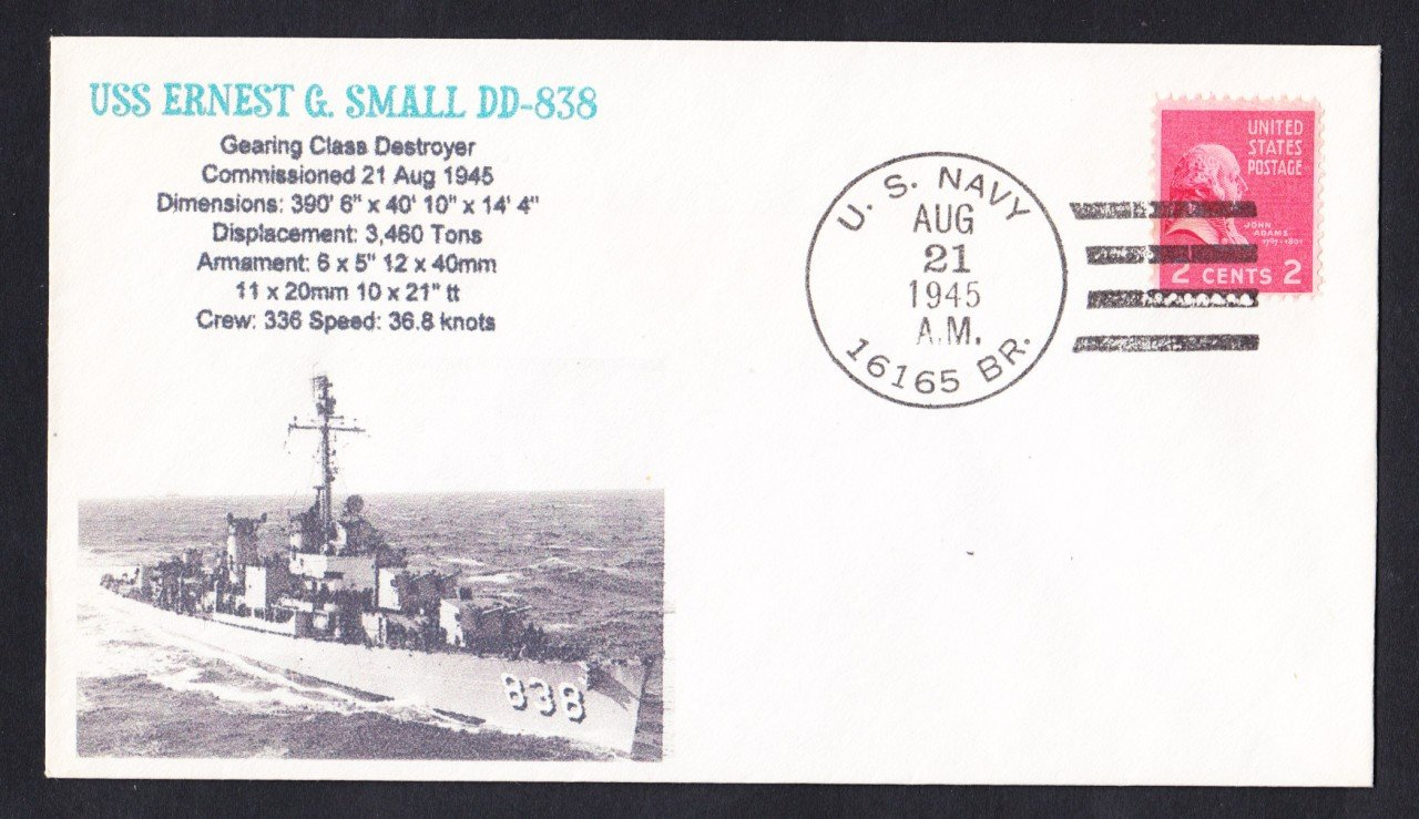 USS SMALL DD-838 BR# Cancel WWII Naval Cover MHcachets ONLY 1 MADE