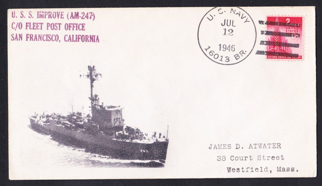 USS IMPROVE AM-247 BR# Cancel 1946 Naval Cover MHcachets ONLY 1 MADE