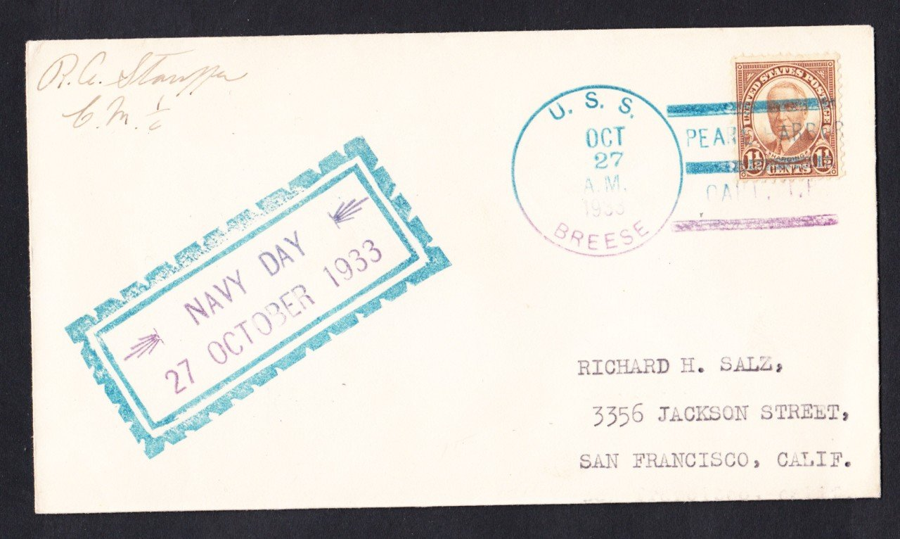 USS BREESE DM-18 Navy Day Pearl Harbor Hawaii 1933 Naval Cover