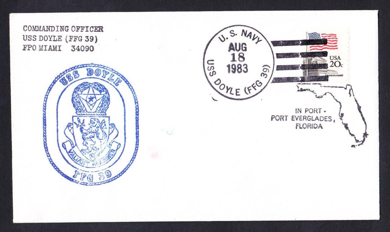 USS DOYLE FFG-39 Port Everglades FL Naval Cover