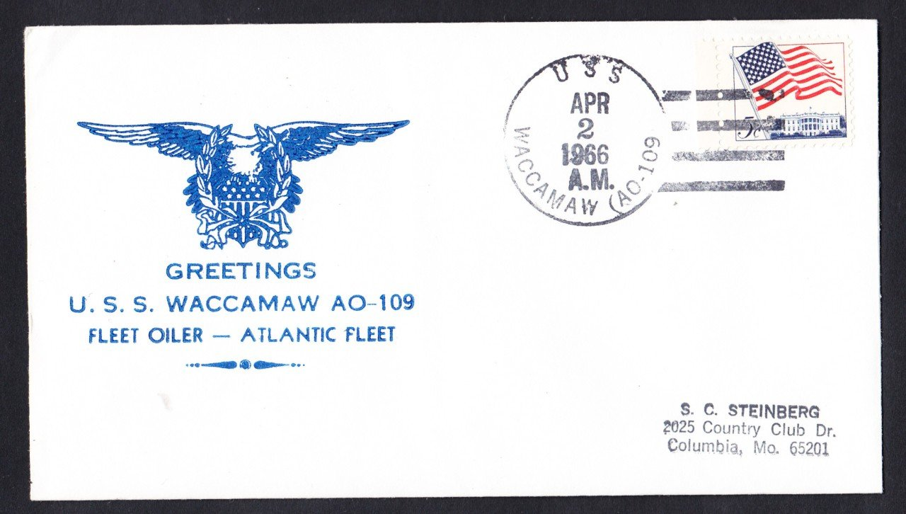 USS WACCAMAW AO-109 Greetings From Norfolk Naval Cover