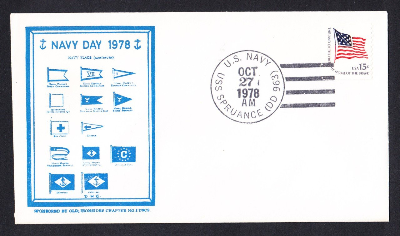 USS SPRUANCE DD-963 Navy Day Naval Cover