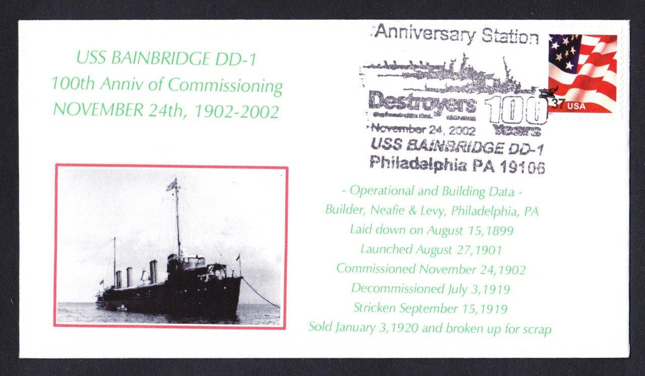 100 Years of US Navy Destroyers USS BAINBRIDGE DD-1 Naval Cover