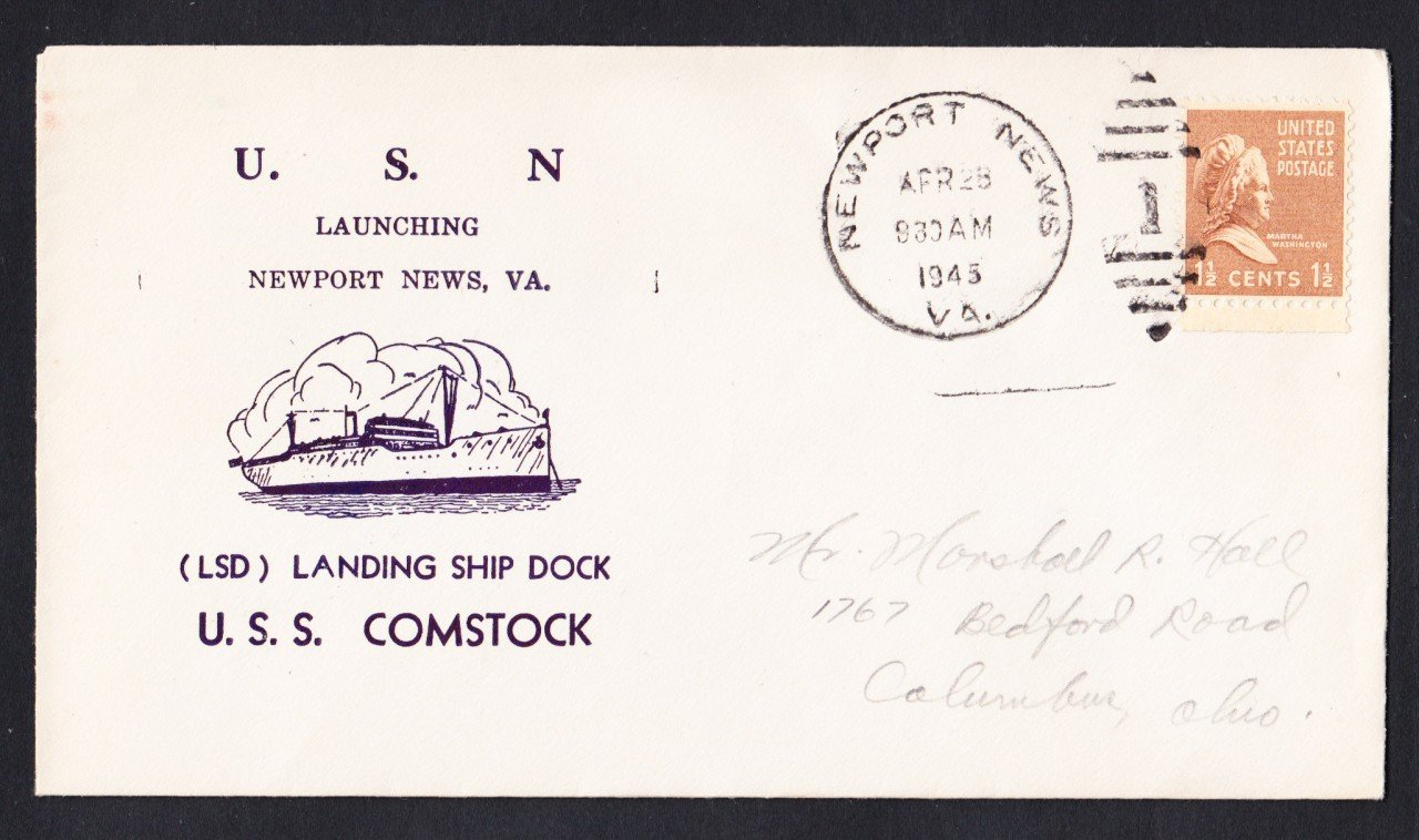 USS COMSTOCK LSD-19 Launching 1945 Naval Cover