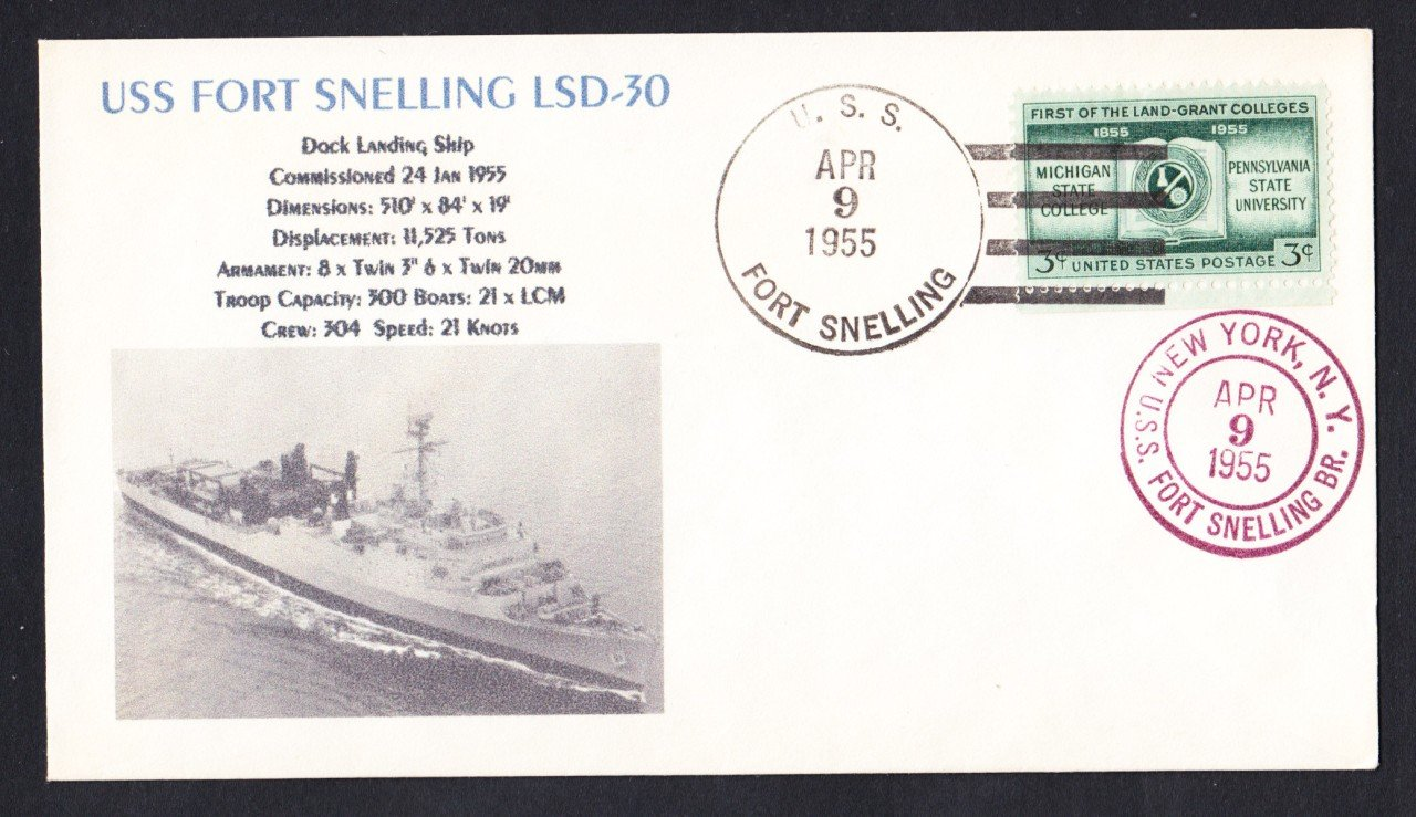 USS FORT SNELLING LSD-30 1955 Naval Cover MHcachets ONLY 1 MADE