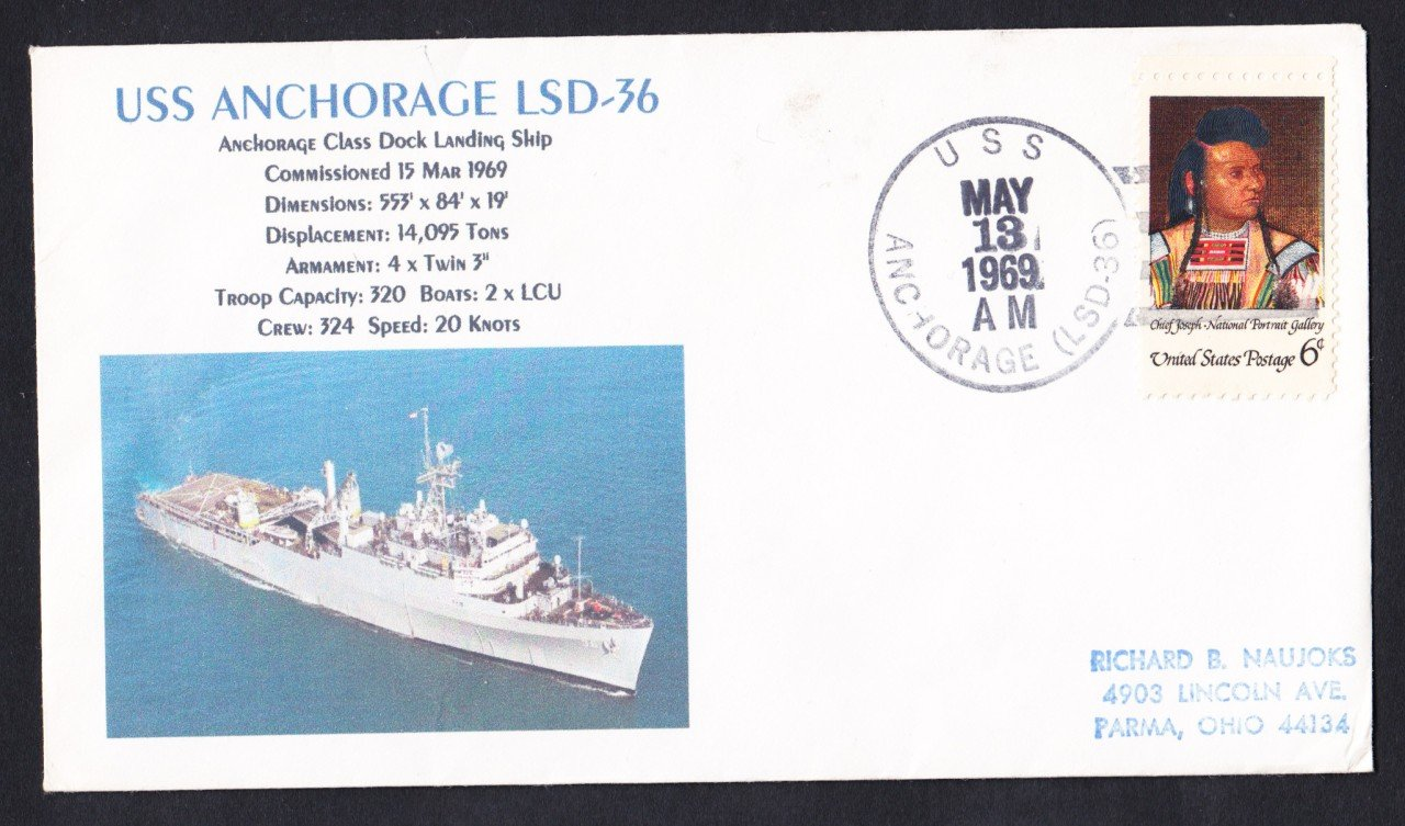 USS ANCHORAGE LSD-36 Naval Cover MHcachets ONLY 1 MADE