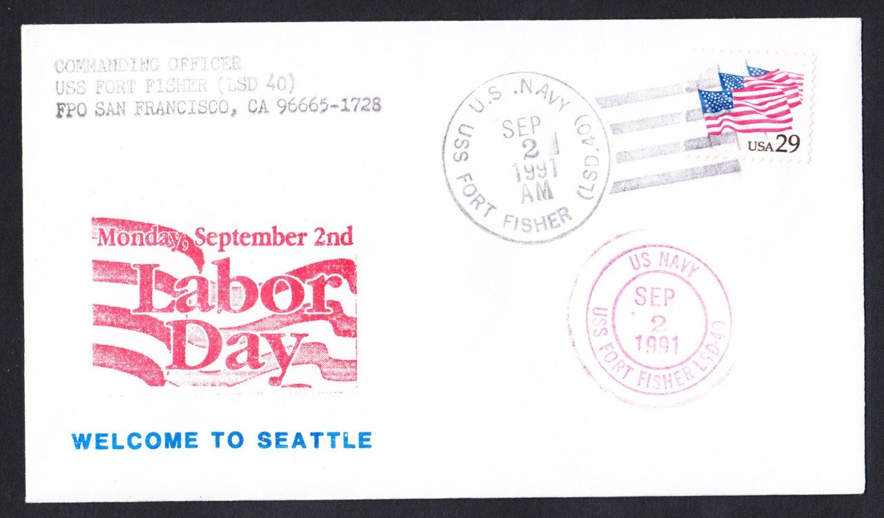 USS FORT FISHER LSD-40 Labor Day Seattle WA Naval Cover