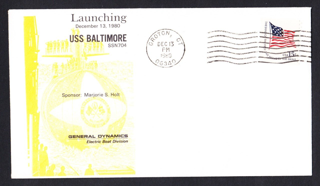 USS BALTIMORE SSN-704 Launching DPS #26 Cachet Naval Submarine Cover
