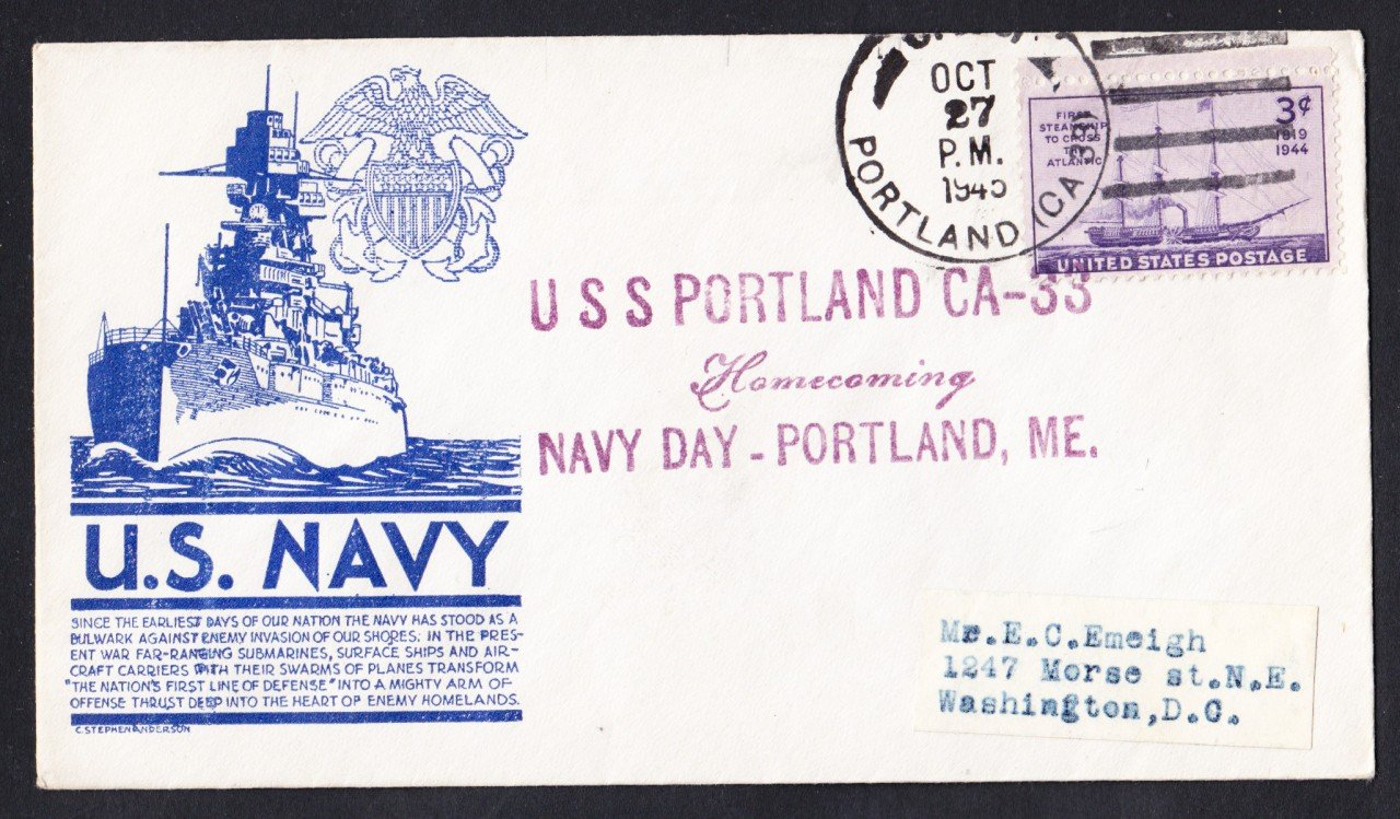 USS PORTLAND CA-33 Navy Day 1945 Naval Cover