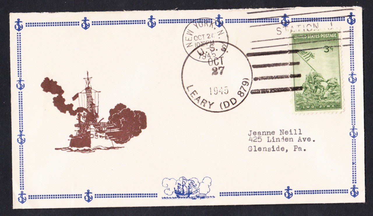 USS LEARY DD-879 Navy Day 1945 Naval Cover