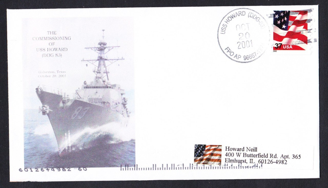 USS HOWARD DDG-83 Commissioning Naval Cover MHcachets ONLY 1 MADE