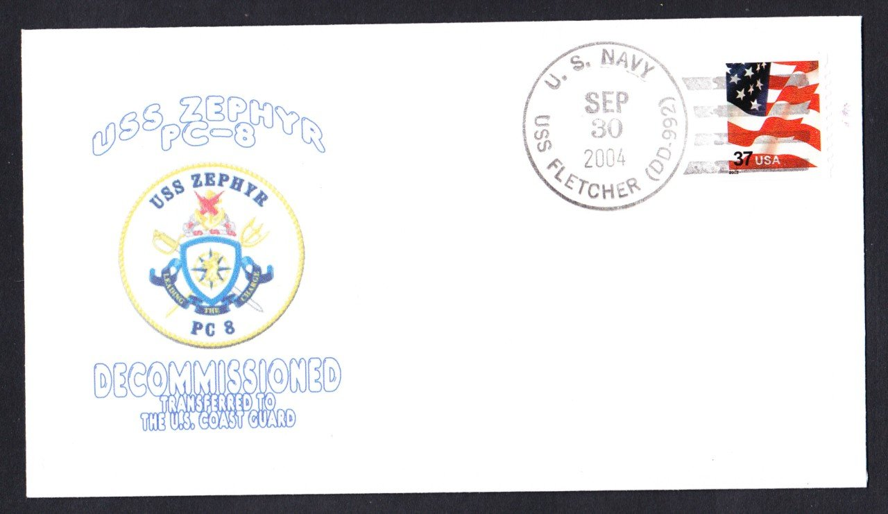 USS ZEPHYR PC-8 Decommissioning Naval Cover Goodwin Cachet