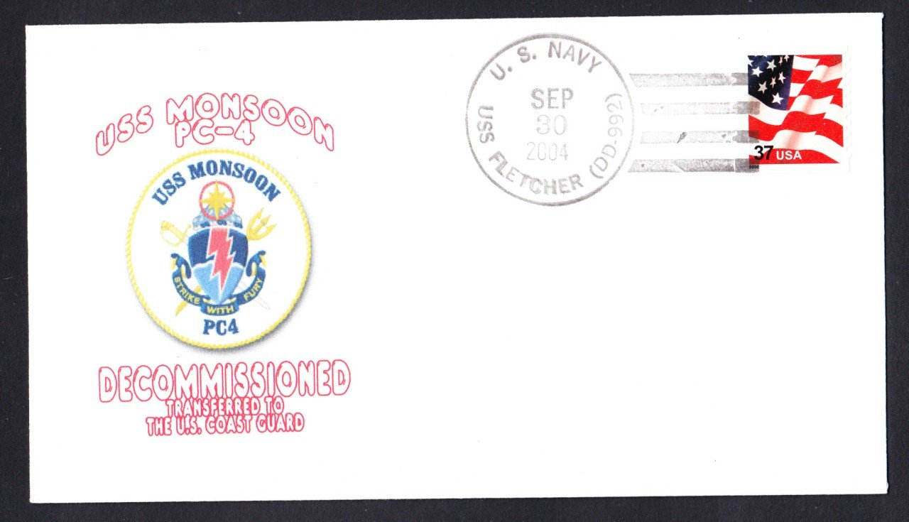 USS MONSOON PC-4 Decommissioning Naval Cover Goodwin Cachet