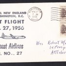 AM27 NORTHEAST AIRLINES Worcester MA to Wash DC 1956 First Flight Cover