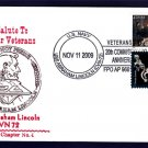 USS ABRAHAM LINCOLN CVN-72 Veterans Day Naval Cover