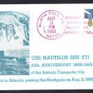 USS NAUTILUS SSN-571 Transpolar North Pole Trip North Pole Alaska Submarine Cover