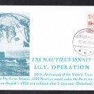 USS NAUTILUS SSN-571 Transpolar North Pole Trip Greenland  Submarine Cover