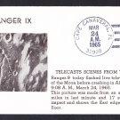 RANGER  IX SPACECRAFT Crashes Into Moon 1965 Space Cover