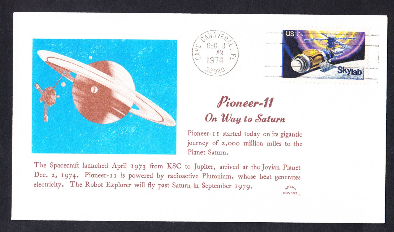 PIONEER 11 SPACECRAFT Voyage to Jupiter 1974 Space Cover