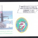 USS GREENEVILLE SSN-772 Commissioning Anniv Naval Submarine Cover 8 Made