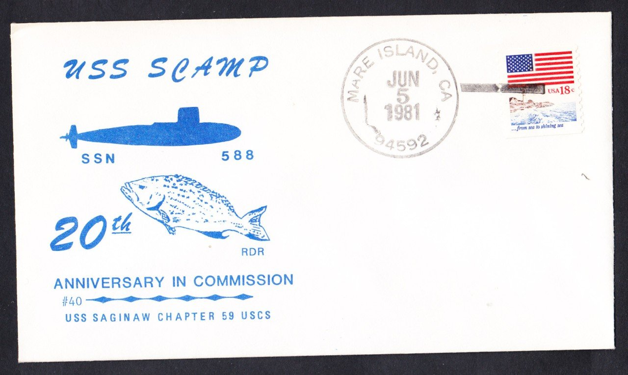 USS SCAMP SSN-588 25th Anniversary Naval Submarine Cover