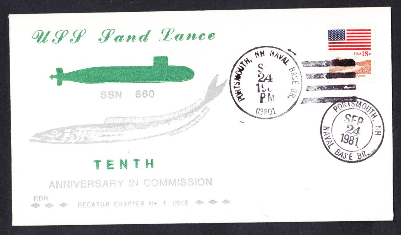 USS SAND LANCE SSN-660 10th Anniversary Naval Submarine Cover