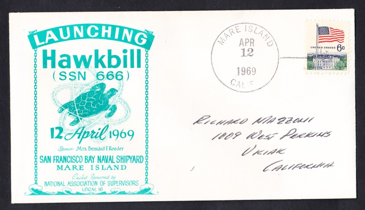 USS HAWKBILL SSN-666 Launching Naval Submarine Cover