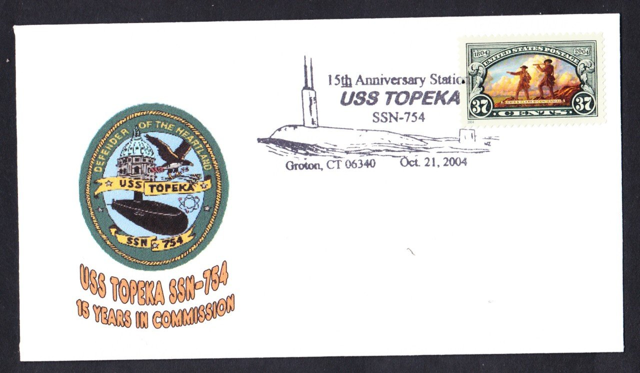 USS TOPEKA SSN-754 15th Anniversary Naval Submarine Cover