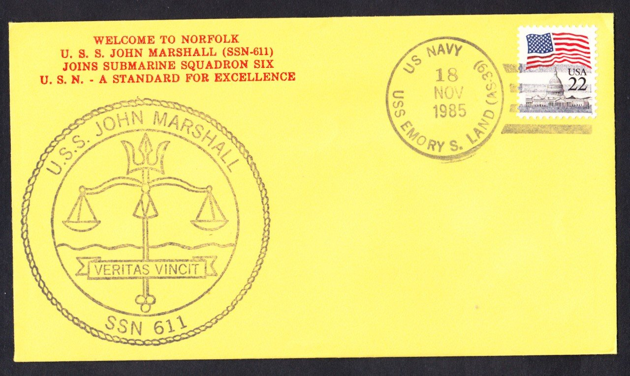 USS JOHN MARSHALL SSBN-611 Welcome To Norfolk Naval Submarine Cover
