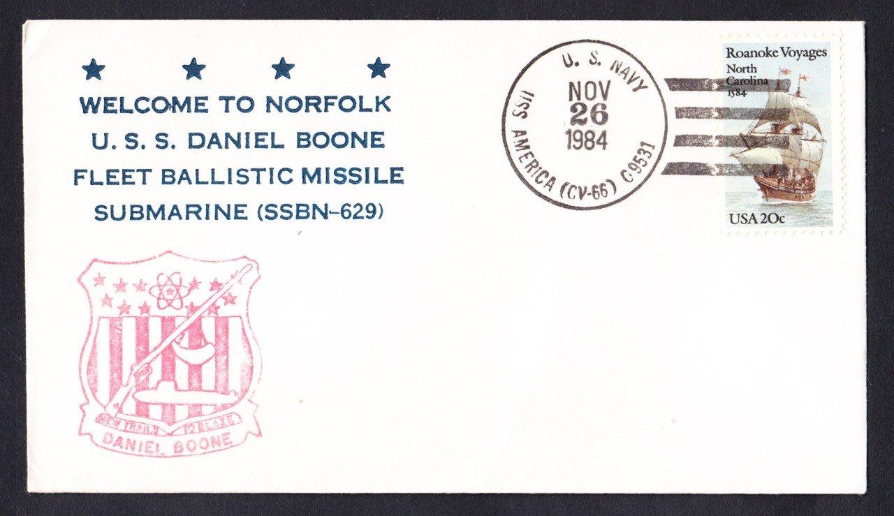 USS DANIEL BOONE SSBN-629 Welcome To Norfolk Naval Submarine Cover