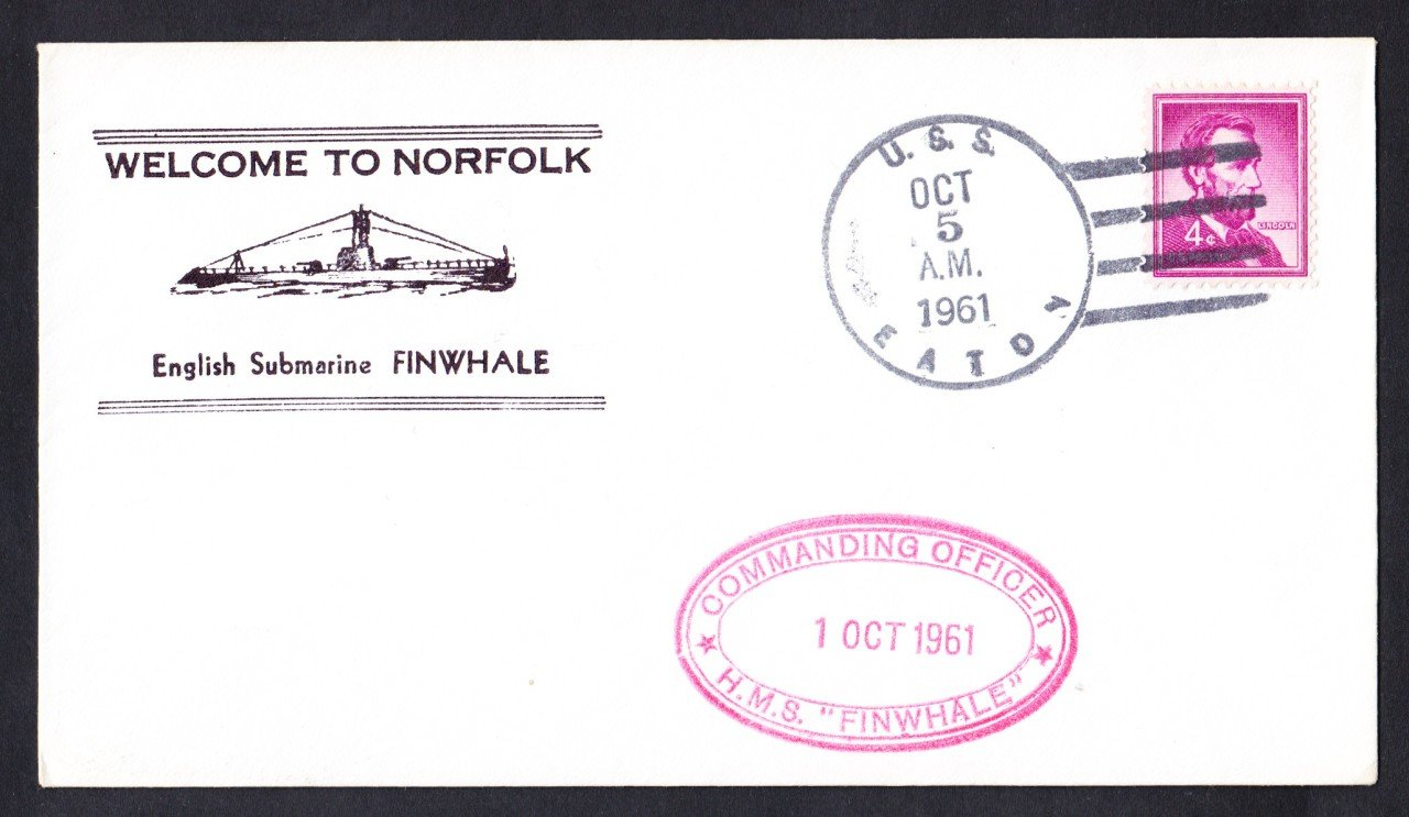 Royal Navy Submarine HMS FINWHALE Norfolk VA Naval Cover