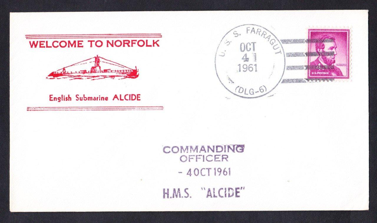 Royal Navy Submarine USS ALCIDE Norfolk VA Naval Cover