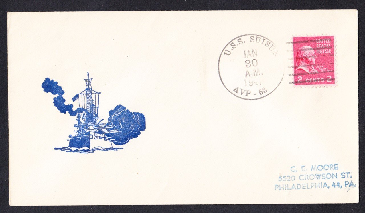 USS SUISUN AVP-53 Fancy Cancel 1947 Naval Cover