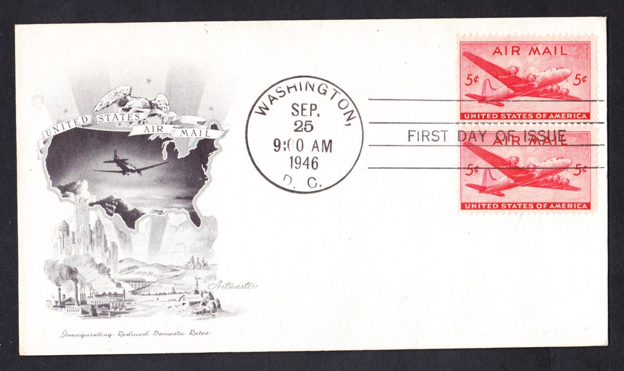 #C32 DC-4 AIRPLANE Airmail Stamp First Day Cover