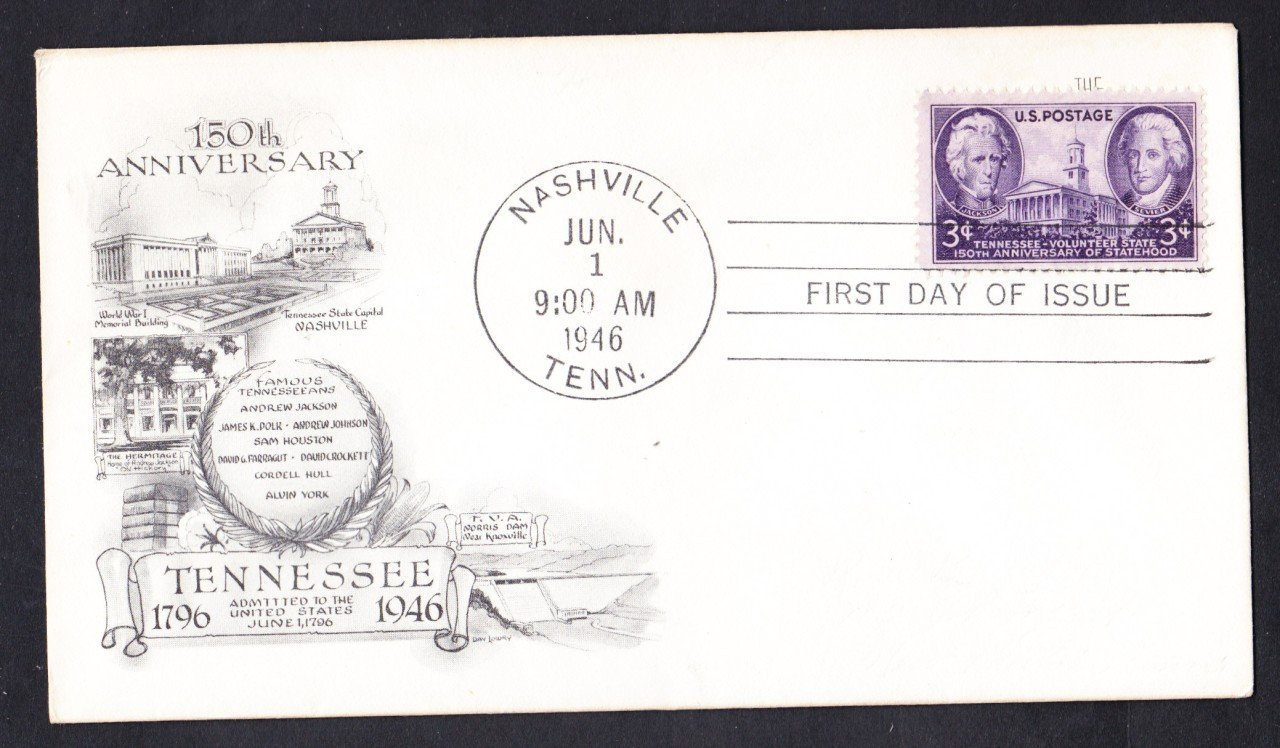 #941 TENNESSEE STATEHOOD Stamp First Day Cover