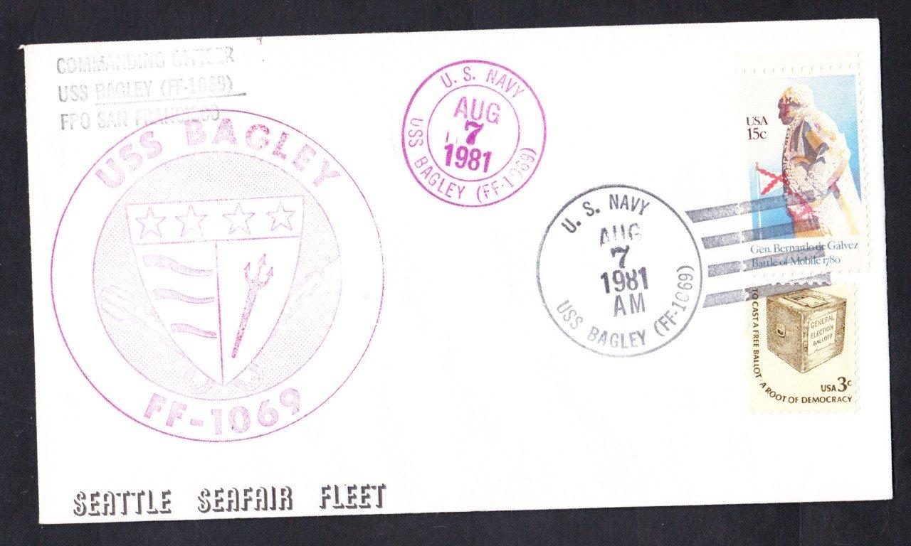USS BAGLEY FF-1069 Seafair Fleet Seattle Naval Cover